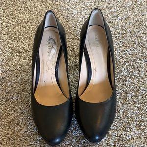 Black leather Cole Haan Nike Air 7B Platform Heels